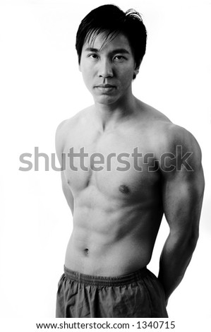 A monochrome picture of muscular chinese model
