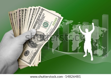 A montage about profit in world business.  A successful man throws his arms up in achievement. - stock photo