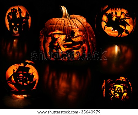 a montage of the different carved sides of a pumpkin on black background - a witch stirring her cauldron, evil castle, headless horseman, ghosts, and a pirate ship - stock photo