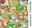A montage of various currencies from several different Middle Eastern countries. - stock photo