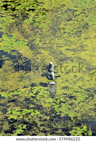 a monument in the middle of the lake - stock photo