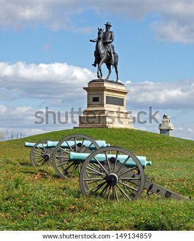 A monument to Major General Winfield Scott Hancock at Gettysburg National Military Park.It was dedicated in 1896 by the Commonwealth of Pennsylvania. - stock photo