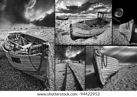 a moody black and white photo montage of wrecked fishing boat images. Wooden fishing boats abandoned on the shingle beach at Dungeness in South East England.