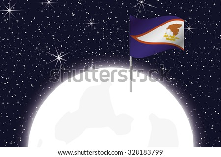 A Moon Illustration with the Flag of American Samoa