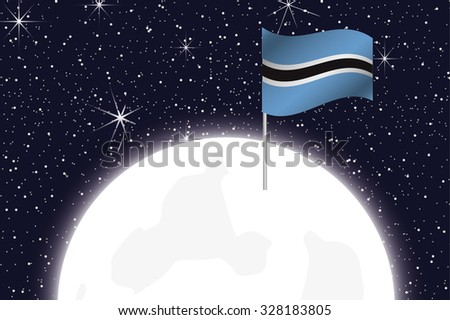 A Moon Illustration with the Flag of Botswana