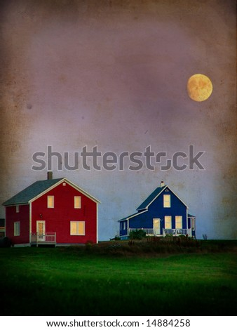 A moon over two colored houses on a grunge background - stock photo
