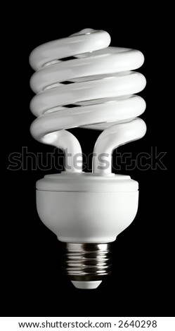 A more efficient bulb. Fluorescent light bulb isolated on a black background. - stock photo