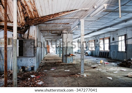a more than 20 years vacant factory building of an old Youth Court - stock photo