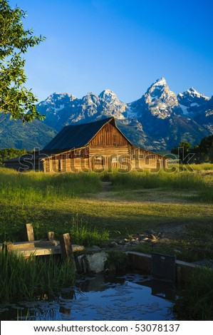 A Mormon barn in Grand Teton National Park, Wyoming. - stock photo
