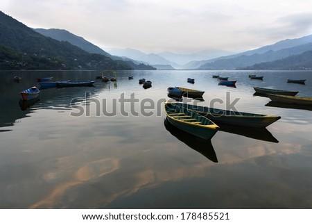 A morning view of lake Phewa, Pokhara, Nepal - stock photo