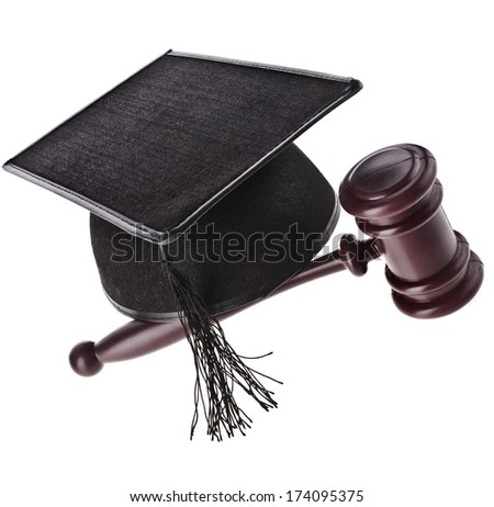A mortarboard and gavel are isolated for law graduates.   Isolated on White Background - stock photo