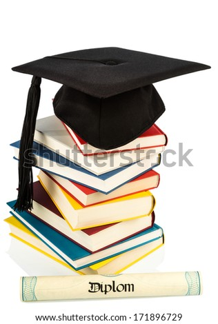a mortarboard on a book stack, symbol photo for education and skills - stock photo