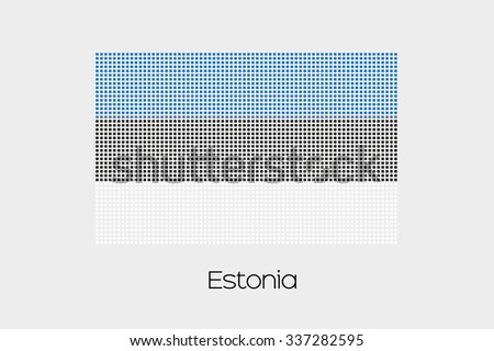 A Mosaic Flag Illustration of the country of Estonia - stock photo