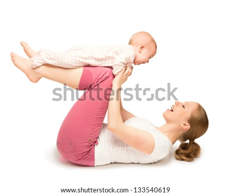 A mother and baby gymnastics, yoga exercises isolated on white background - stock photo