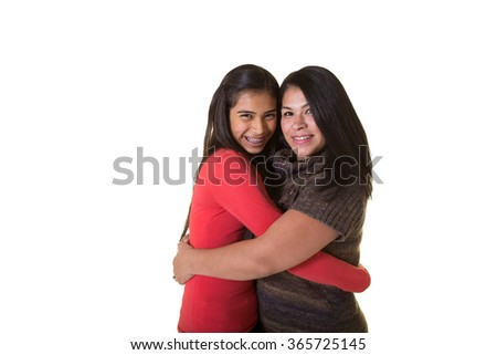 A mother and daughter isolated on white - stock photo