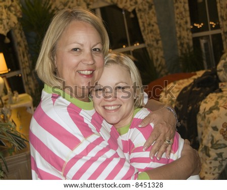 A Mother and Daughter reunite during the holidays - stock photo