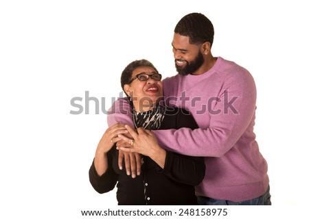 A mother and her grown adult son - stock photo