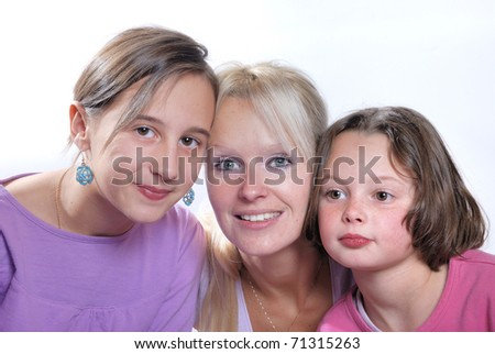 A mother and her young daughters