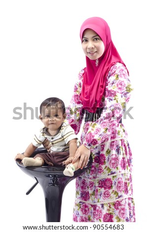 a mother and son happy isolated white background