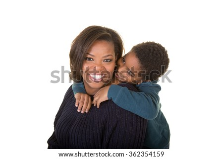 A mother and son isolated on white - stock photo