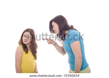 A mother being hungry with her daughter - stock photo