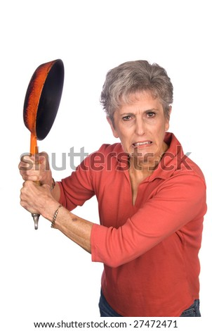 A mother gets ready to swing her frying pan in anger.