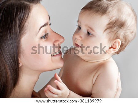 A mother with a small child - stock photo