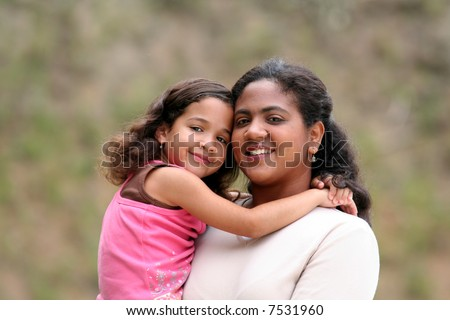 A mother with her children - stock photo