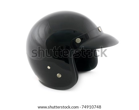 A motor cycle helmet isolated on white - stock photo