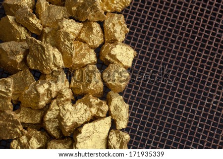 a mound of gold close-up - stock photo