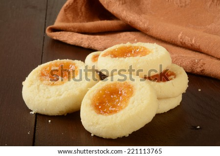 A mound of shortbread cookies with apricot filling - stock photo