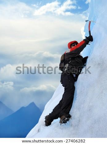 A Mountain climber at Perito Moreno Glacier, Patagonia, Argentina - stock photo