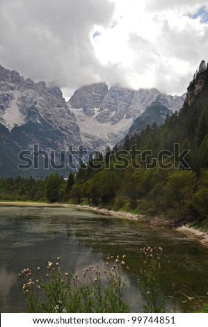A Mountain Lake in the Dolomites, Italy
