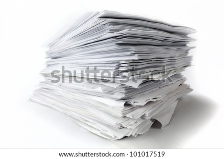A mountain of paper symbolizing workload in an office