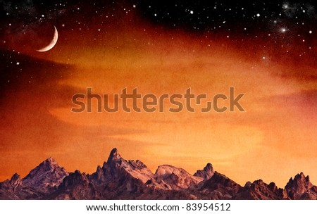 A mountain range at sunset with a crescent moon and stars.  The sky has a vintage paper texture and grain. - stock photo
