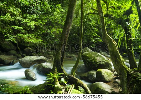 A mountain river with stream falling into it. - stock photo