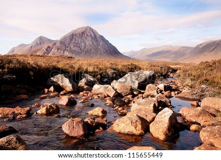 A mountain stream running through the scottish highlands. - stock photo