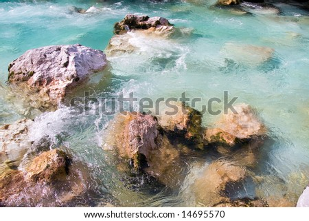 a mountain waterfall in slovenia - stock photo