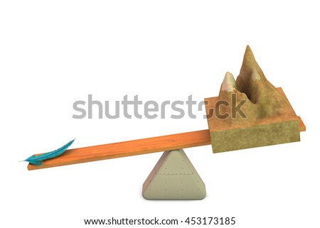 A mountain with a feather  on the seesaw,3D illustration. - stock photo