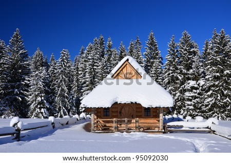 A mountain wooden hut covered with fresh snow  in Chocholowska valley - Tatra Mountains - stock photo
