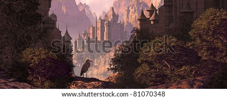 A mountainous canyon landscape with gothic castles, lake and a great blue heron. - stock photo