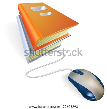 A mouse connected to a stack of books. Concept for online internet learning, education, information storage or e-books. - stock photo