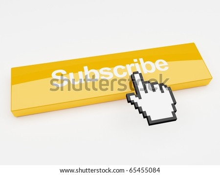 A mouse pointer hovering over a button that says subscribe - stock photo