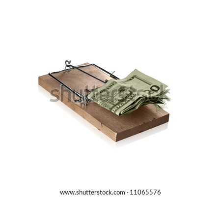 A mousetrap. Can be used as a concept for risky investing. - stock photo