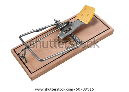 A mousetrap with cheese isolated over a white background with a clipping path - stock photo