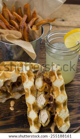 mouth watering gluten free chicken and waffle sandwich prepared with ...