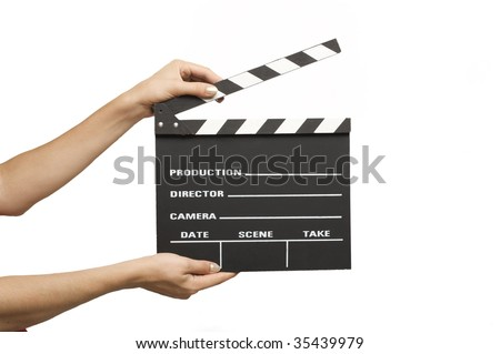 A movie production clapper board.