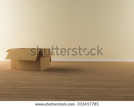 A moving box in a empty apartment - stock photo