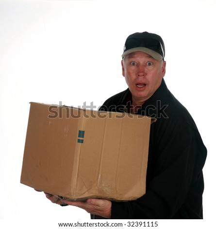 a moving man seems shocked by the amount of moving boxes he sees isolated on white with room for your text