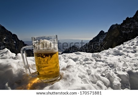 A mug of beer in the High Tatra Mountains - Slovakia - stock photo